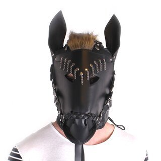 Horse Mask Black Leather Pferdemaske